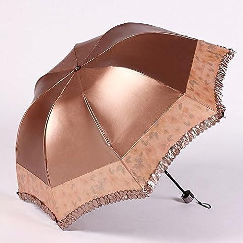 Mdrw-fashion parapluies coloré Plastique pliable Parapluie Fille Parapluie UV 30% Petit Noir Parapluie Plus de double usage Parasol, b