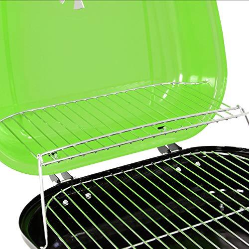 51Uk%2BVItx8L - Nexos Mini Koffer-Grill Holzkohlegrill für Garten Terrasse Camping Festival Picknick Party BBQ Barbecue ca. 34 x 36 cm Grillfläche grün