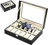 Zogin Caja de Almacenamiento de Reloj/Soporte de Exhibición de Relojes para Guardar 12 Relojes o Pulseras, Color Negro