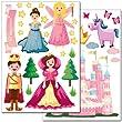 """Set de stickers muraux Wandkings """"princesses du monde"""" - plus de 35 autocollants sur 2 feuilles A4"""
