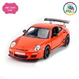 Smiles Creation Kinsmart 1:36 Scale Pull Back Action and Openable Doors 2010 Porsche 911 GST RS Car Toys, Orange (5-inch)