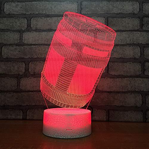3D Optisches Nachtlicht Nachttischlampe Für Kinder LED Tischleuchte Dekoratives Licht 7 Farben Andern Touch Switch Acryl USB Batterie Crack Basis Wooden Barrel Fernbedienung -