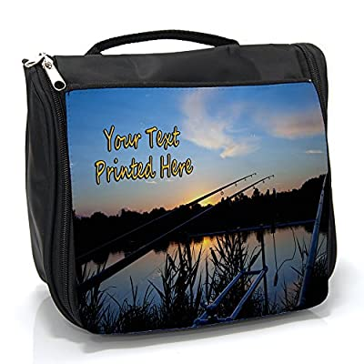 Personalised Wash Bag Carp Fishing sh044 Hanging Toiletry Bag | Travel Make up Cosmetic| Overnight Bag ** Add a Name **