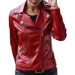 V-SOL Chaqueta De Cuero Para Mujer -13 (Rojo, L)