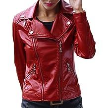 V-SOL Chaqueta De Cuero Para Mujer -13 (Rojo, M)