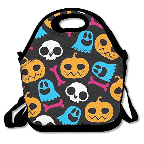fengxutongxue Reusable Picnic Lunch Bags Lunch Tote Happy Halloween (2) Lunch Box for Men Women Adults Kids Toddler Nurses (Tote Pink Halloween Lady)