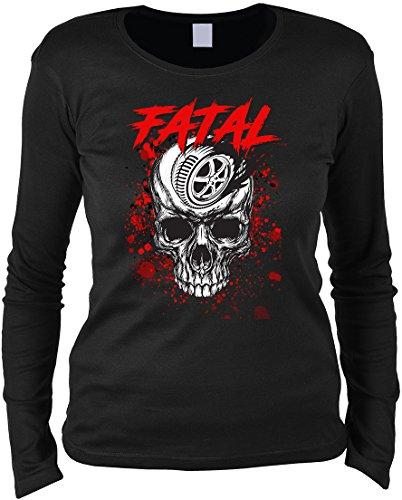Biker Langarmshirt Frau - langarm Damenshirt : Fatal Skull -- Damen Longsleeve Totenkopf Skull Reifen Motorradreifen Gr: S