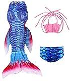 Le SSara Ragazze Shark Cosplay Costume costumi da bagno sirena Shell Swimsuit Sets (130, A rosa + azzurro)