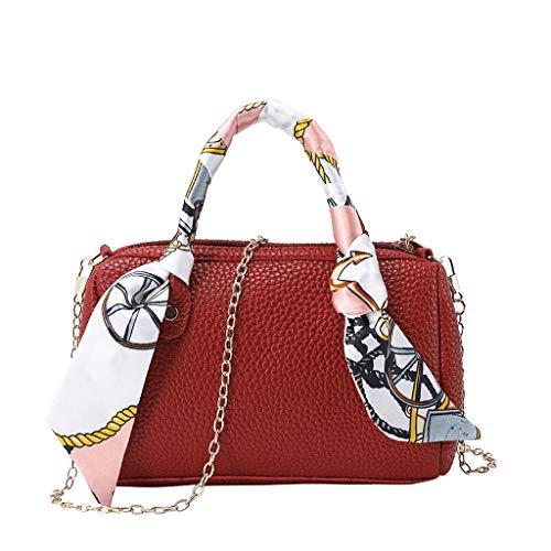 Calvinbi Taschen Damen Umhängetasche Messenger Bag Handtasche Bostontasche Beuteltasche Design Retro Vintage mit Schal -
