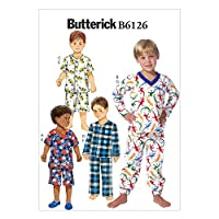 Butterick Boys Easy Sewing Pattern 6126 - Pyjama Tops, Shorts & Pants