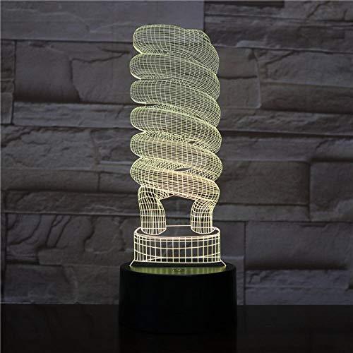 3D-1003 Spirale Glühbirne Art-Deco-3D-Licht visuelle Lichteffekt beste Fernbedienung dekorative Farbwechsel LED Nachtlicht