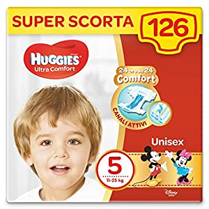 HUGGIES Pannolini Ultra Comfort, Taglia 5 (11-25 Kg), Confezione da 126 Pannolini (3 x 42) 17 spesavip