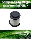 Filtro pieghettato lavabile per gli aspirapolvere portatili Black+Decker Dustbuster PV9625N, PV1225NPM, PV1225NB, PV1425N, PV1825N, PV9610, PV1210, PV1410, PV1810 (alternativa a VF90). Prodotto genuino da Green Label