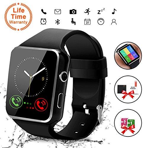 Android Smart Watch, Bluetooth Smart Watch con SIM Card Slot Fotocamera Orologio Intelligente, Cardiofrequenzimetro da Polso Contapassi Braccialetto Pedometro per Uomo Donna per Android Smartphones