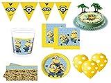 XXL Party Set Minions Kindergeburtstag 47 teilig mit Tortendeko für Mädchen Junge Party Deko Set Dave Stuart Tortenaufleger Kuchen Deko