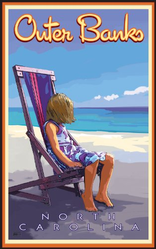 Northwest Art Mall äußeren Banken Girl in Stuhl am Strand North Carolina Wand Kunst von Joanne KOLLMAN, 11 von 43 cm (Carolina Girl North)