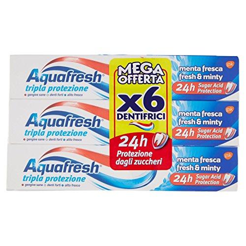 Aquafresh Dentifricio Tripla Protezione Menta Fresca - Pacco da 6 X 75 ml