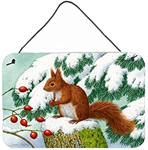 Carolines Treasures ASA2172DS812 Winter Red Squirrel Wall or Door Hanging Prints