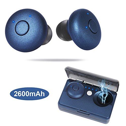 Bluetooth Kopfhörer Kabellos, Kitbeez in Ear Kopfhörer Bluetooth V4.2 True Wireless Stereo Headsets IPX4 Wasserdicht Sport Mini Ohrhörer TWS Earbuds Noise Cancelling mit Mikrofon und 2600mAh Ladekästchen für iPhone iPad und Android