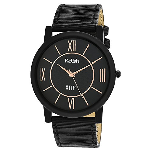 RELISH RE-S804BB SLIM Black Dial Analog Watch For Mens & Boys