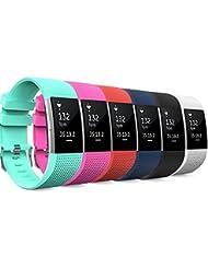 """Fitbit Charge 2 Bracelet, MoKo Watch Band (6Pièces) de Remplacement ajustable en Silicone Souple pour Fitbit Charge 2 Bracelet de suivi de la fréquence cardiaque 5.70""""-8.26"""", Multi-Couleurs"""