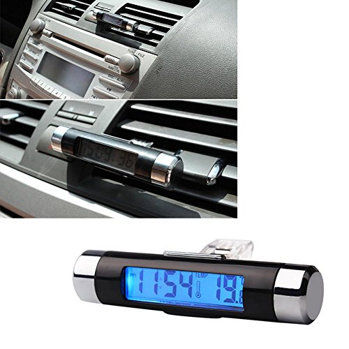 RUNGAO Blue Back Light 2in 1Air Vent Outlet Auto Uhr Thermometer Digitale Zeit LCD-Display Auto Styling Auto Zubehör