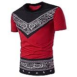 VEMOW Heißer Verkauf Mode Männer Sommer Casual Täglichen Afrikanischen Print O Neck Pullover Kurzarm T-Shirt Top Bluse Pulli Tees für Vatertag Geschenk(Rot, EU-56/CN-XL)