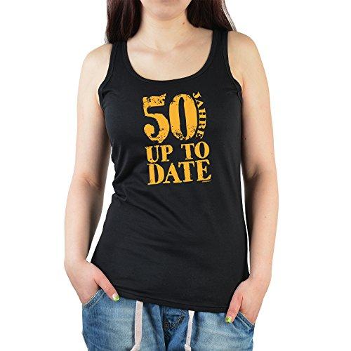 Cooles Tank Top zum 50.Geburtstag Damenshirt : 50 Jahre up to Date - T-Shirt Geburtstag 50 Frauen Schwarz