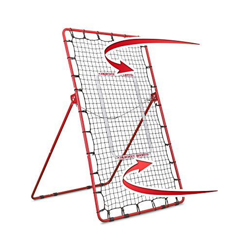 Rukket Sports rukket Pitch Rückseite Baseball/Softball Rebounder | Pitching und Werfen Praxis Partner | Winkel Einstellbar Pitchback Trainer, Rot -