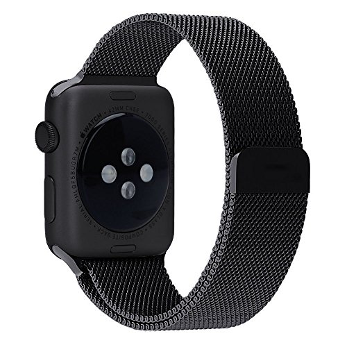 Brain Freezer Milanese Loop Stainless Steel Watch Band Strap Magnetic Lock Bracelet for Apple Watch iWatch 42mm ,Black