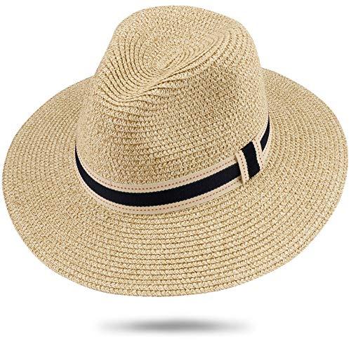 Maylisacc 57cm Panama-Hut für Damen Herren Breiter Krempe Stroh Fedora Sommer Strand