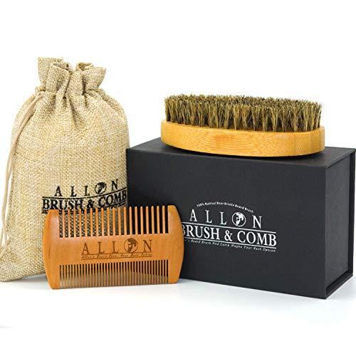 Barba spazzola e pettine per barba | allon setole di cinghiale spazzola | fatto a mano in legno pettine kit per capelli e barba tagliacapelli con confezione regalo perfetto