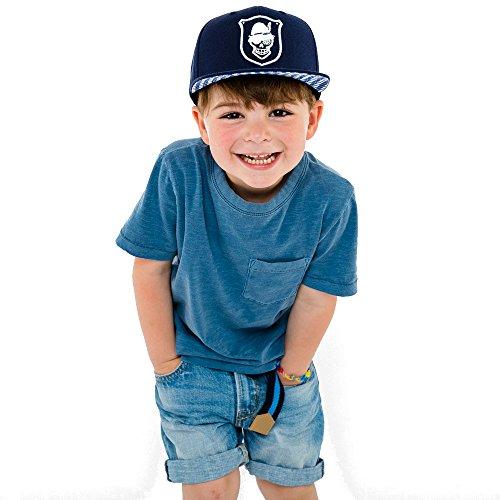Preisvergleich Produktbild Wiesnrocker WRK1001-1 I Kinder-Snapback-Cap, Navy-Blaue Schild-Mütze für Kids, 3D-Stick Weiss, Größenverstellbar, Unisex