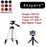 "Easypro™ Flexible 4 Sections 105 cm Monopod Camera Tripod + Mobile Phone Holder Tripod Mount Holder with Tripod Carrying Bag with YT-228 7"" Mini Mobile Tripod With 360° Rotating Ball Head With Mobile Clip For Android/IOS Devices (Combo)"