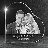 VIP-LASER 2D GRAVUR Glasherz XL mit Deinem Hochzeitsfoto Hochzeitsbild Hochzeit graviert Dein Wunschfoto für die Ewigkeit mitten in Glas! Groesse XL = 80x80x19mm
