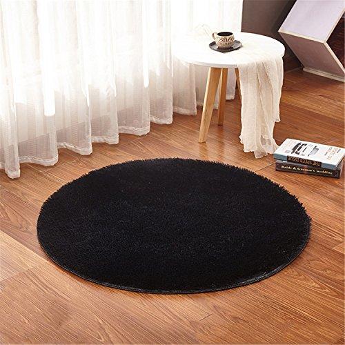 linyingdian 120cm (4-Feet) Alfombras redondas Super Soft Living Room Dormitorio Home Shag Carpet (Negro)