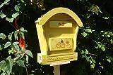 HBK-RD-GELB Briefkasten aus Holz gelb amazon hellgelb sonnengelb Sonne Briefkästen Holzbriefkästen Postkasten Runddach - passt auch zu vielen Vogelhäusern Vogelhaus Insektenhotel Insektenhotels Vogelhäuser aus Holz Ergänzung für Vogelhäuschen und Vogelfutterhaus Nistkasten Meisenkasten mit echt Holzschindel