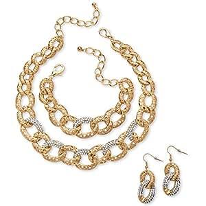 Palm Beach Jewelry Parure collier/bracelet/boucles d'oreille maille gourmette - cristaux incrustés - doré