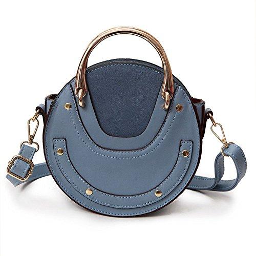 Misonz PU Leder Handtasche One Schulter Umhängetasche Klein Rund Paket Damen Tasche, Damen, Blau