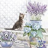 Serviette Kätzchen und Blumen 20 Stück