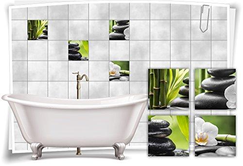 Zen-bad (Medianlux Fliesenaufkleber Fliesenbild Zen Steine Blüte Bambus Grün Wellness SPA Aufkleber Sticker Deko Bad WC, 15x15cm)