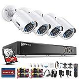ANNKE Kit de Seguridad 3MP H.264+ DVR 8+2 Canal y 4 Cámaras CCTV de Luz estrellada videovigilancia para hogar y negocio(P2P 8CH 5-en-1 DVR Onvif cámar