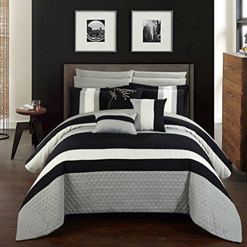 Chic Home cs2546-an Pueblo 10piece Pueblo komplett Schlafzimmer-Set mit Octagon Stickerei Color Block Muster. Queen Bett in einem Beutel Tröster Set schwarz mit-Bettlaken-Set, schwarz, Queen (Queen-bett In Einem Beutel)