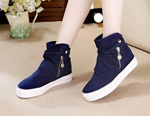 ALUK- Version coréenne de la High-help chaussures de toile Femmes Zipper épais-fin occasionnels chaussures pour étudiants ( couleur : Noir , taille : 36 ) Bleu
