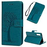 Coque Samsung Galaxy A7 2018, Housse en Cuir LaVibe PU Leather Etui Portefeuille à Rabat Hibou Arbre Clapet Support Fermeture Magnétique Video Stand, Flip Wallet Protective Case Cover-Bleu