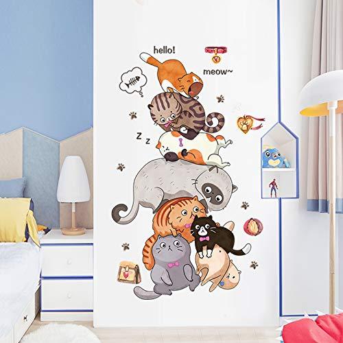 Niedliche Zeichentrick-Katzentür Aufkleber Kreatives Schlafzimmer Warme Tapete Selbstklebenden Raum Dekorativen Wandposter Nachtseite Sticker