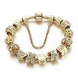 Long Way Lächeln Emoji Perlen vergoldet Kristall hohl Herz Bettelarmband Charme Armband (Bettelarmband) Für Mädchengeschenk