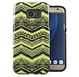 Samsung Galaxy S6 Edge Silicone Inner & Outer Hülle 2-Teilig, Doppellagig: PC + TPU Robuste Handyhülle Case Cover Native Black & Green Aztec Boho Colorful Pattern