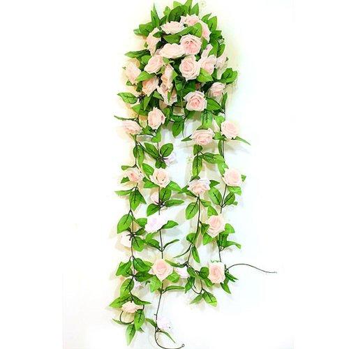 VivReal® Kunstpflanze Efeugirlande Kranz Künstliche Efeuranke Blumen Rose Deko Hellpink