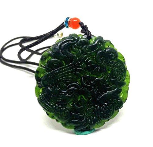 Collar pendiente verde chino negro del dragón del jade de la jadeít